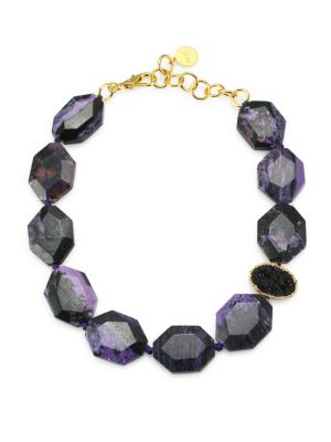 NEST Charoite & 24K Goldplated Statement Necklace in Multi