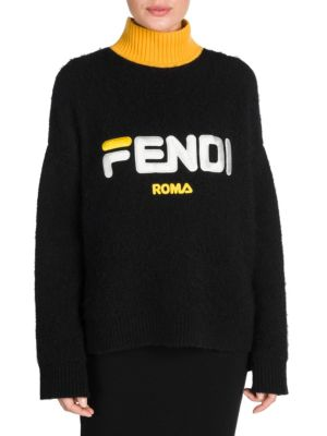 FENDI + Fila Embroidered Wool And Cashmere-Blend Turtleneck Sweater, Black