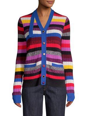 V-Neck Multicolor Stripe Cashmere Cardigan, Red-Multi