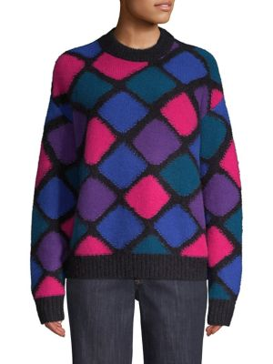 Cashmere-Mohair Harlequin Diamond Mockneck Sweater, Black-Multi