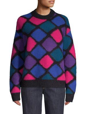 Cashmere-Mohair Harlequin Diamond Mockneck Sweater, Black-Multi