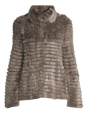 GLAMOURPUSS Lamb Fur Baseball Jacket in Multi
