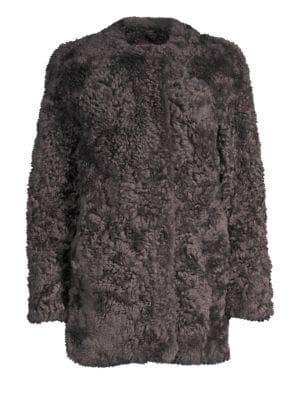 GLAMOURPUSS Sheared Rabbit Coat in Grey