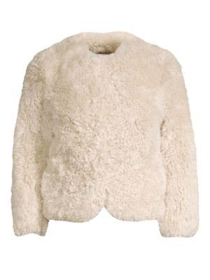 GLAMOURPUSS Sheared Tibetan Lamb Collarless Jacket in Oatmeal
