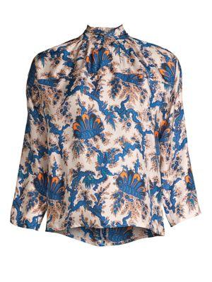 80e44174cd451e Sandro Liliane Botanical-Print Silk Top In Beige