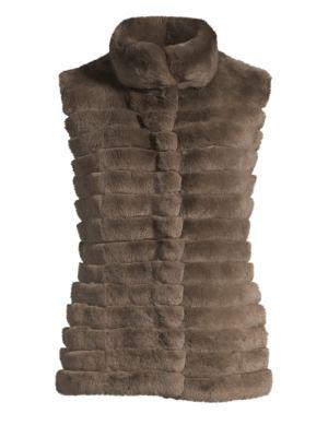 GLAMOURPUSS Rabbit Fur Vest in Dark Taupe