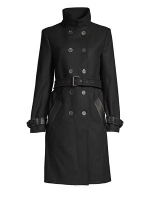 Wool Blend Double Breasted Trench Coat by The Kooples