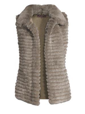 GLAMOURPUSS Rex Rabbit Fur Vest in Taupe Snow