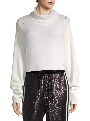 Studded Draped Turtleneck Sweater in Beige