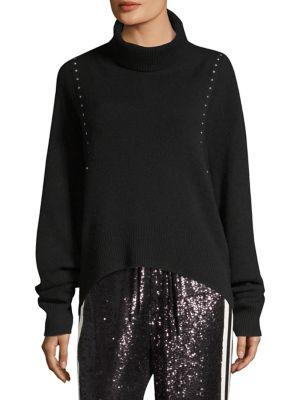 Studded Draped Turtleneck Sweater in Black