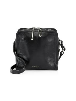 Hudson Mini Square Leather Crossbody Bag - Black