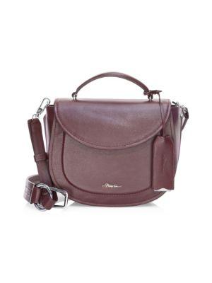 Hudson Top Handle Leather Shoulder Bag - Burgundy in Red