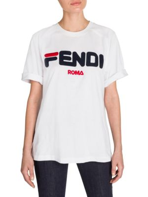 + Fila Flocked Embroidered Cotton-Jersey T-Shirt, White
