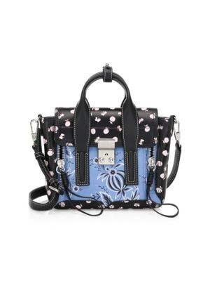 Black Multi Printed Leather Pashli Mini Satchel
