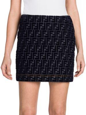 Flocked Velvet Ff Logo Denim Mini Skirt