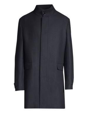 STRELLSON Broadway Wool-Blend Coat in Navy