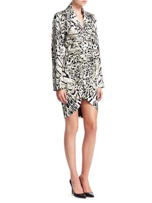 ROBERTO CAVALLI Satin Ruched Leopard Print Sheath Dress in Neutrals