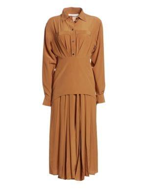 Victoria Beckham Silk Pleated Shirtdress