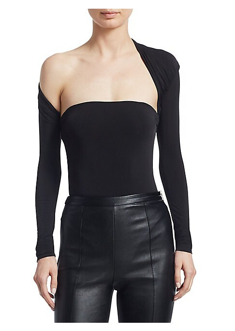 Image of A modern take on a classic, this black stretch bodysuit is updated with an asymmetric shrug design and turns to reveal a draped back. Asymmetric bandeau neckline. Long sleeves. Slip-on style. Acetate/elastane/silk. Spot clean. Imported. SIZE & FIT. Fitted