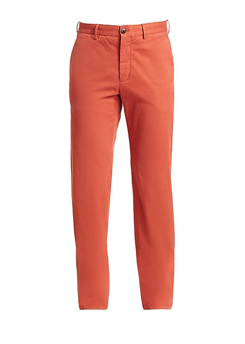 """Image of EXCLUSIVELY OURS. Straight-leg chinos cut from a cotton stretch. Banded waist with belt loops. Zip fly with button closure. Waist slash pockets. Back welt pockets. Cotton/elastane. Dry clean. Made in Italy. SIZE & FIT. Straight leg. Rise, about 12"""".Inseam"""