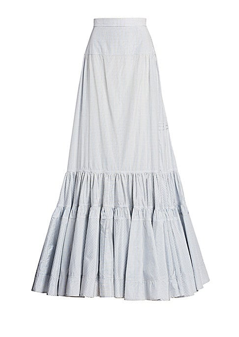 Image of Since stepping into his role at Calvin Klein, Raf Simons has dipped his designer hands fully into absurdist Americana. This voluminous prairie skirt breathes new life into the concept of evening wear; crafted out of silk, it features tiered panels, pintuc