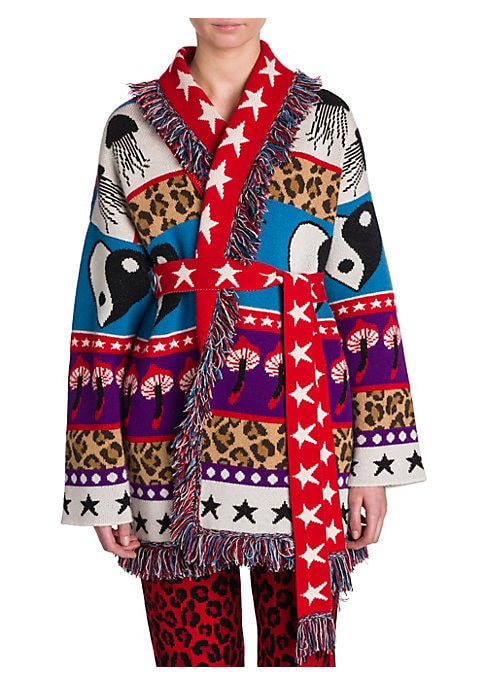 Image of From the Saks IT LIST. PUTTING ON THE KNITS. That favorite-sweater feeling goes from head to toe. Boasting everything from heart yin yangs to jellyfish to mushrooms, this intarsia cardigan is a lighthearted piece. Crafted out of a cashmere-blend and with