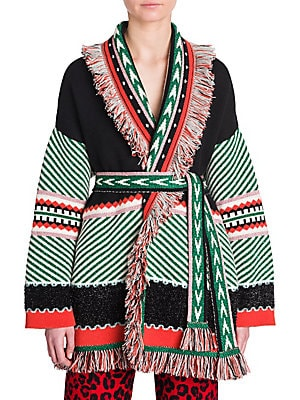 Image of From the Saks IT LIST PUTTING ON THE KNITS That favorite-sweater feeling goes from head to toe. Crafted in Italy, this luxurious open front cashmere-blend cardigan is essentially haute hippie bait. Knit with a patchwork of patterns, a star shoots across t