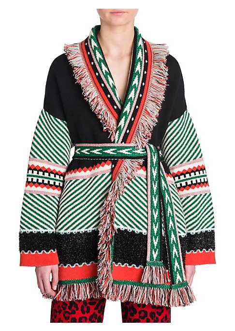 Image of From the Saks IT LIST. PUTTING ON THE KNITS. That favorite-sweater feeling goes from head to toe. Crafted in Italy, this luxurious open front cashmere-blend cardigan is essentially haute hippie bait. Knit with a patchwork of patterns, a star shoots across