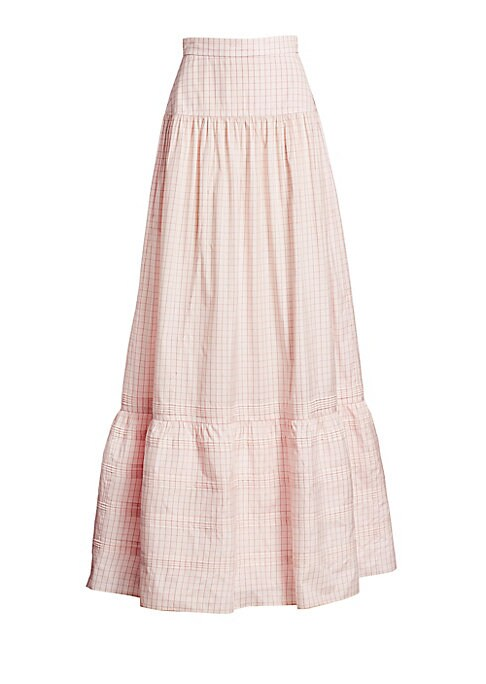 Image of At Calvin Klein, designer Raf Simons is keen to share his viewpoint of Americana. Here, that extends to a romantic prairie skirt, which boasts a delicate grid check, pintuck detailing and plenty of volume. Banded waist. Concealed back zip and hook-and-eye