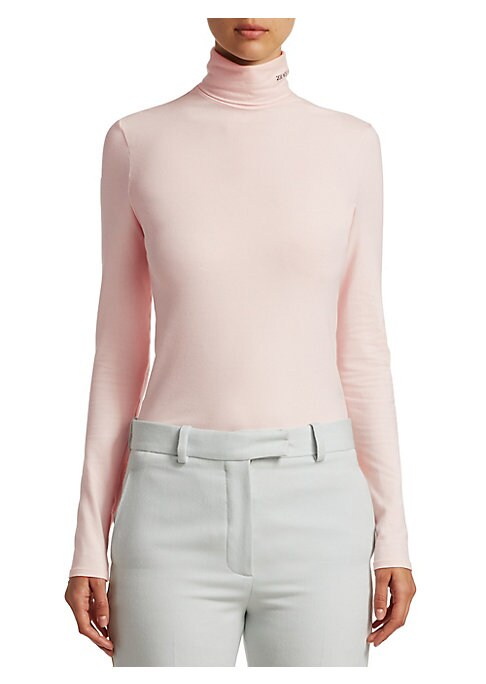 """Image of A soft turtleneck with a second-skin like comfy stretch. Crafted from cotton, its collar is accented by 205 W39 NYC embroidery detailing. Mockneck. Long sleeves. Cotton/elastane. Hand wash. Made in Italy. SIZE & FIT. About 24"""" from shoulder to hem. Model"""