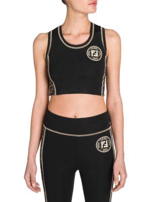 aab14f18eb8f2 Fendi Lycra Crop Top W  Logo Side Bands In Black