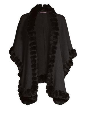 GLAMOURPUSS Rabbit Fur Trimmed Knit Cape in Jet Black