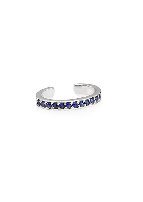 "Image of Delicate ear cuff with stunning sapphires. Sapphire.18K white gold. Diameter, 0.25"".Slip-on style. Made in USA."