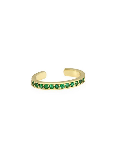 Image of Brilliant emeralds set in single yellow gold ear cuff. Emeralds, 0.16 tcw.18K yellow gold. Width, 0.25mm. Length, 1.25mm. Slip-on style. Made in USA.