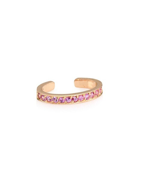 18K Rose Gold & Pink Sapphire Single Ear Cuff