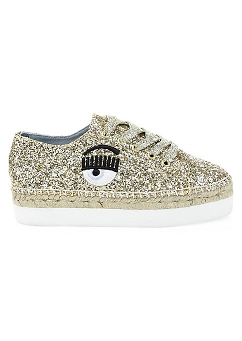 """Image of Kitschy glitter sneakers feature quirky eye embroidery. Glitter leather upper. Round toe. Lace-up vamp. Leather lining. Rubber sole. Made in Italy. SIZE. Platform, 1.5""""."""
