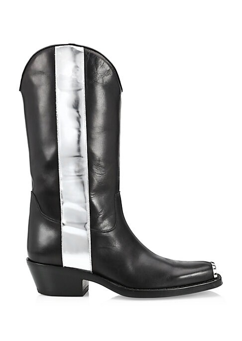 Image of From the Saks IT LIST. THE COWBOY BOOT. Pair this versatile must-have with flowing skirts, jeans and more. Classic leather western boots flaunt modern metallic accents. Leather upper. Slip-on style. Square metallic capped toe. Leather lining and sole. Mad