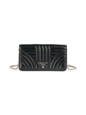 Prada Women's Diagramme Impunture Leather Wallet-on-chain In Black