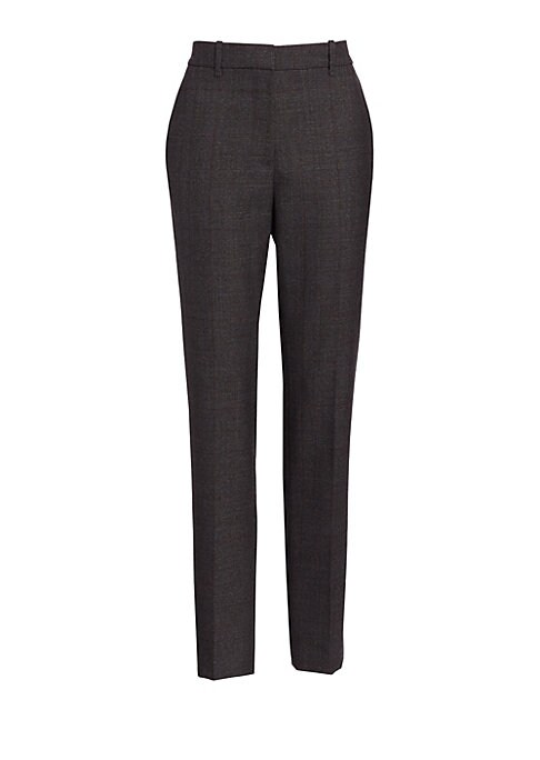 Image of A pair of versatile pants featuring a subtle blurred check pattern and a tapered leg. Cut from 100% wool, its chic look is finished with side slip and back welt pocket detail. Belt loops. Zip fly with hook-and-eye closure. Side pockets. Back welt pocket.