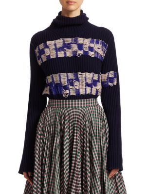 Turtleneck Balaclava Hood Floating-Yarn Ribbed Wool Sweater in Blue