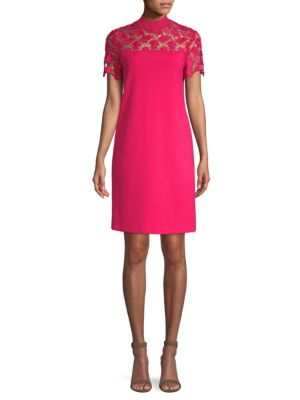 ESCADA SPORT Mock-Neck Lace-Guipure Crepe Dress in Shocking Pink