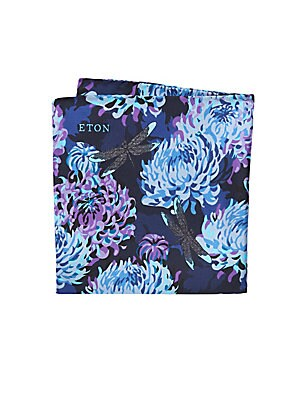 "Image of 100% silk Made in Italy SIZE 10""W x 10""H. Men Luxury Coll - Eton. Eton. Color: Blue."
