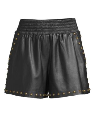 Henri Leather Shorts, Black