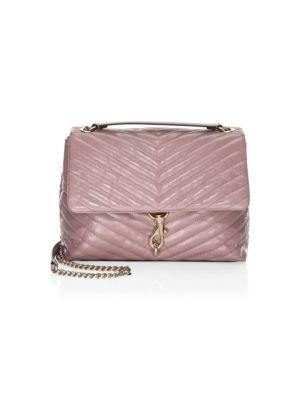 Edie Medium Convertible Leather Shoulder Bag, Mink