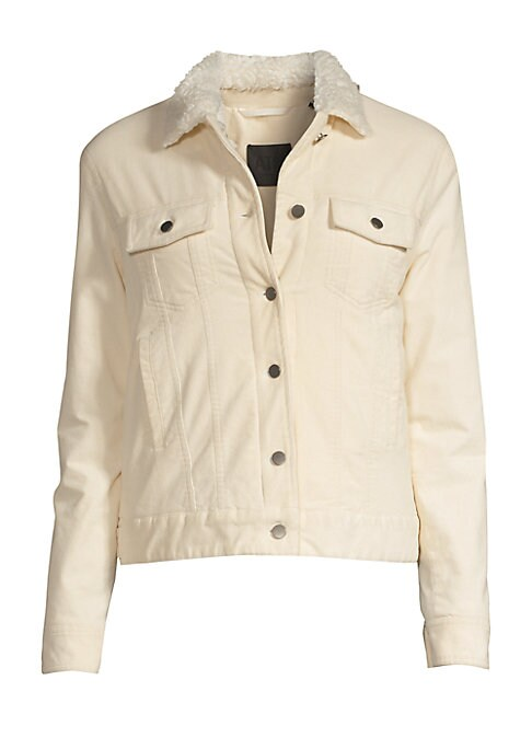 Image of A faux-shearling lining enhances the cozy appeal of this corduroy jacket. Fold-over collar. Long sleeves. Buttoned cuffs. Button front. Chest buttoned flap pockets. Waist welt pockets. Lining: Polyester. Cotton/spandex. Fur type: Faux. Machine wash. Impor