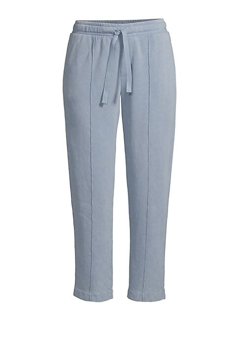 """Image of Ankle-length cotton drawstring joggers with seaming detail. Elasticized drawstring waist. Side slit pockets. One back button pocket. Pull-on style. Relaxed fit. Rise, about 11"""".Inseam, about 25"""".Leg opening, about 15"""".Cotton. Machine wash. Imported. Model"""