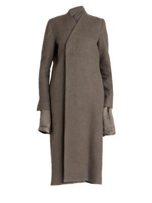 Reversible Midi Camel Coat in Grey