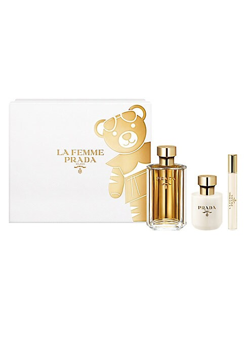 Image of For the Holidays, discover Prada Parfums' feminine, quintessential fragrance. La Femme Prada is an invitation to emotion. Straying from fragrance's more familiar routes, a sultry journey is evoked by its Frangipani wake. This elegant white limited-edition
