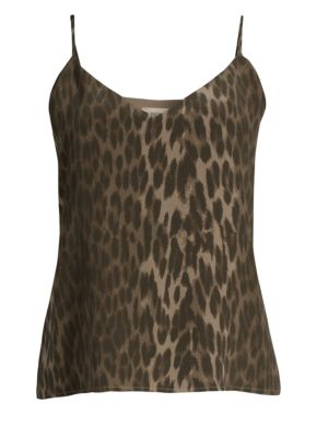 Jane Leopard-Print Silk-Crepe Camisole in Dark Olive Multi