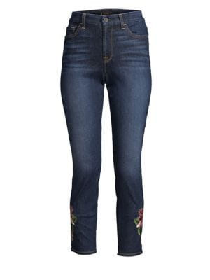 JEN7 Embroidered Ankle Skinny Jeans in Pretty Dark Hudson
